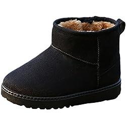 Minetom Unisex Ragazzi Ragazze Scarpe Inverno Vello Foderato Antiscivolo Stivali Da Neve Cotone Stivaletti Nero EU 32