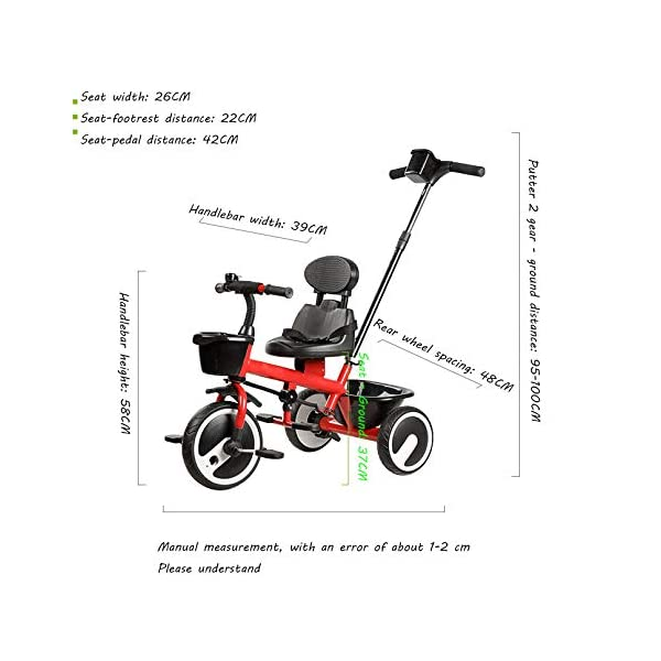 BGHKFF 2 In 1 Children's Hand Push Tricycle 1.5 To 5 Years 2-Point Safety Belt Children's Pedal Tricycle Rear Wheel With Brake Versatile Childrens Tricycles Maximum Weight 25 Kg,Red BGHKFF ★Material: Steel frame, suitable for children aged 1.5-5, maximum weight 25 kg ★ 2 in 1 multi-function: can be converted into baby strollers and tricycles. Remove the hand putter as a tricycle. ★Safety design: golden triangle structure, safe and stable; front wheel clutch, will not hit the baby's foot; 2 point seat belt; rear wheel double brake 3