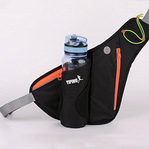 Ceinture de Course, Sac Banane de Sport taille avec porte-bouteille hydrofuge Bum Bag Sacs banane sport, noir