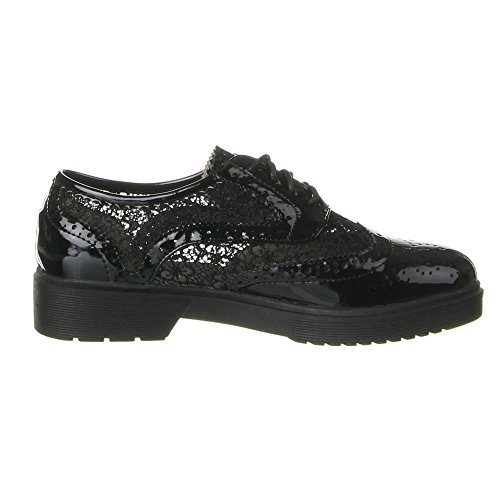 Damen Schuhe, B236-CS, HALBSCHUHE Schwarz