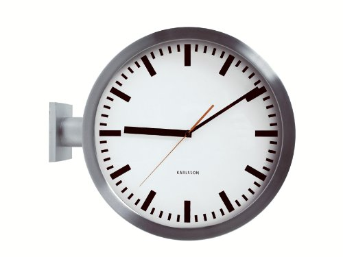 Sided Clock Double Wall (Karlsson KA850551 Wanduhr Double Sided, Aluminium, silber, 14 x 38 x 38 cm)