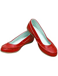 16e1efd8b4b Takla Red Leather Women Loafer in Ballerinas Casual Stylish and Light  Weight Very Attractive Flat Mocassin