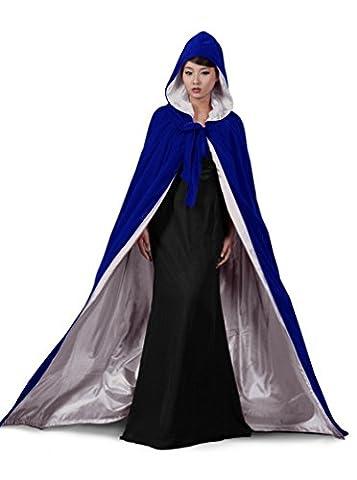 Satin Bleu dressvip couleur Halloween Cape à capuche en velours Longueur totale Multicolore blue silver