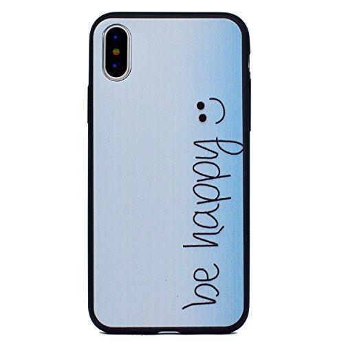 Cover iPhone X, Voguecase, Custodia Silicone Morbido Flessibile TPU Custodia Case Cover Protettivo Skin Caso Per Apple iPhone X(Nero - be happy 03) Con Stilo Penna Nero - be happy 03