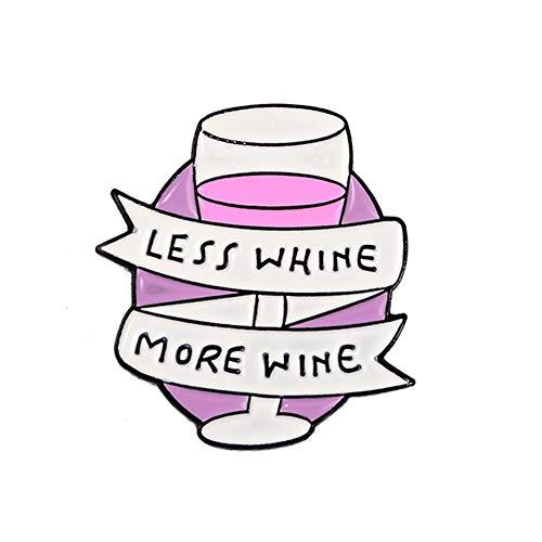 BIGBOBA Persönlich Rot Wein Becher Brosche, Less whing More Wine, Party Kostüm Brosche Accessoires, Legierung Brosche, Denim Kleidung Nadel Dekoration, 2.6 * 2.1cm (Becher Kostüm)