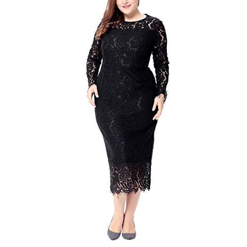 Luckycat Frauen Feste Übergröße Vintage Floral Lace Plus Size Cocktail Formal Swing Kleider Abendkleider Partykleider Blusenkleid Kleider