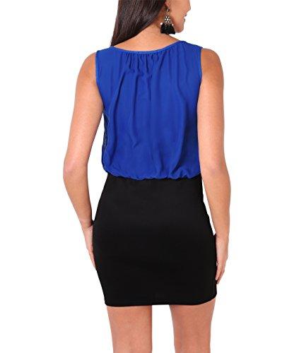KRISP® Damen 2in1 Elegantes Kleid Stretch Rock Chiffon Oberteil Königsblau (3894)