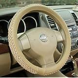 NIKAVI Car Steering Wheel Cover, Microfiber, Emboss Holes, Soft Padding Great Hand Feel, Anti-slip Matte Finish, 15 Inch Middle Size - beige Line