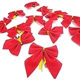 Fizzytech 10Pcs Ribbon Christmas Decoration Bows Tree Bowknots Festival Party Garden Ornament Brooch Pin Decor (Red)
