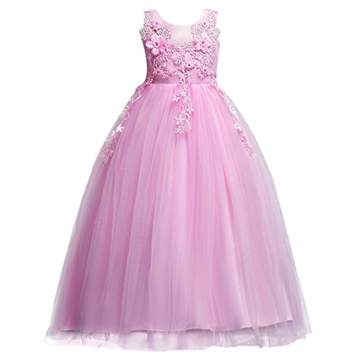 Mädchen Kinder Tüll Blume Kleider Blumenmädchenkleider Hochzeitskleid Brautjungfern Kleid...