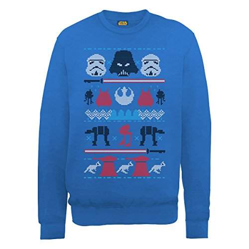 Ufficiale Star Wars Natale Darth Knit, Felpa da uomo Royal