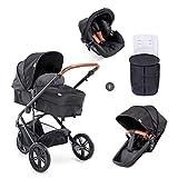 Hauck Pacific 3 Shop N Drive Kombikinderwagen 7 teilig bis 18 kg + Babyschale + Babywanne umbaubar zur wendbaren Sitzeinheit mit Beindecke, leicht, verstellbarer Griff, extra große Räder, schwarz