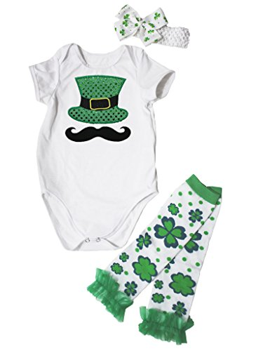 St Kleidung Patrick Kleinkinder Für (St Patrick Day Dress Bread Top Hat White Jumpsuit Leafs Leg Warmer Set Nb-24m (3-6)