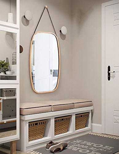 ChuanHan Hotel Europeo Espejo de Baño Espejo de Baño Nordic Decorativo Espejo Redondo Colgante de Pared Espejo de Maquillaje, Color bambú, Espejo Grande