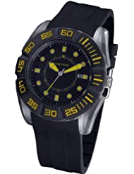 Reloj TIME FORCE de caballero. Calendario. Correa de caucho. Negro y amarillo TF-4026M09