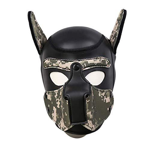 Frecoccialo Erwachsene Unisex Rollenspiel Hund Maske Cosplay Kopf Maske mit Ohren 4 Farbe Paare Spielzeug (Tarnung, Eine Größe) -