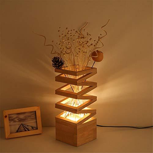 SHELLTB Holztisch-helle Blumen-rustikale einfache Nachttisch-Lampe mit Glasschirm und Schlafzimmer-Nachttisch-Wohnzimmer-Studien-Beleuchtung des festen Holzes,1pcs -