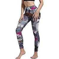 Pantalones Yoga Mujeres, Yusealia Mediados de Cintura Impreso Leggins Fitness Pantalones Elasticidad Moda Empalmada Pantalones De Correr Leggings EláSticos De Flaco Fitness Leggins Mujer
