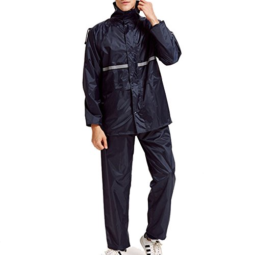 LHHMZ Outdoor Working Protective Raincoat Unisex Waterproof Motorcycle Rainwear Double Hooded Jacket and Trousers Suits With Reflective Strips.