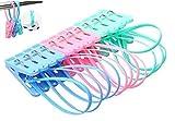 Pinces à linge Clip épingles en corde à suspendre Étendoir coupe-vent Cintre 12(Multicolore)