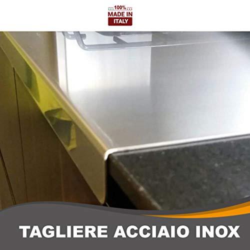ZeroInox Tagliere in Acciaio Inox Varie Misure per Proteggere Il Piano della Cucina profondità 50 cm (L 60 X P 50 X 3cm)