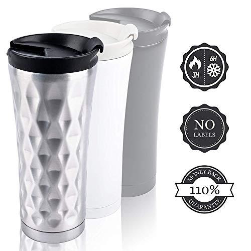 Thermobecher Dicht Spülmaschinenfest 450ml Kaffee/Tee, Outdoor, ohne Logos. 100% BPA frei Edelsthl Isolierbecher mit Geld-zurück-GARANTIE