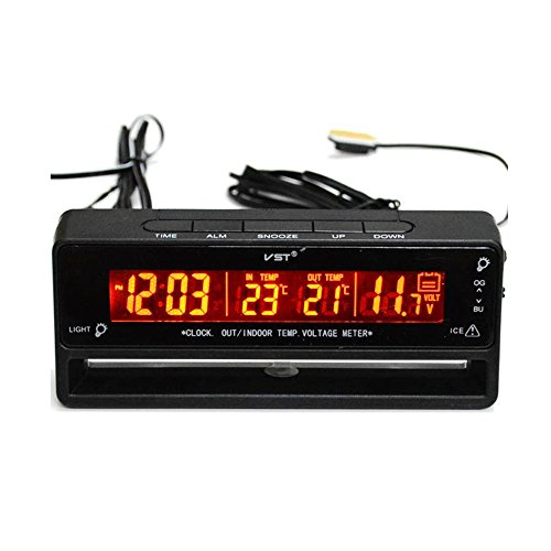 MagiDeal Auto Digitaluhr Thermometer Temperatur Voltmeter Batterie Monitor Digital Battery Meter