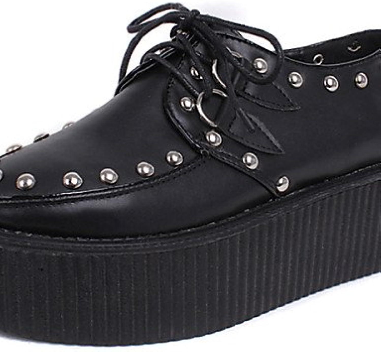 NJX/ Zapatos de mujer - Plataforma - Creepers / Punta Redonda - Oxfords - Casual - Semicuero - Negro , blue-us8...