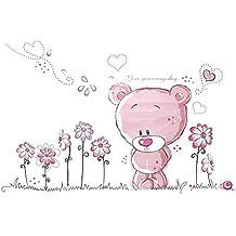 Merssavo Color de Rosa Oso Flor Pared Sticker Decal Home Docor Guardería Infantil Baby Sala
