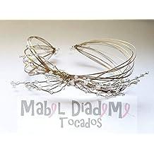 Mabel Diademe Tocado diadema corona novia madrina invitada comunión  festival bodas eventos glamour evento dia noche 5d12648b7d92