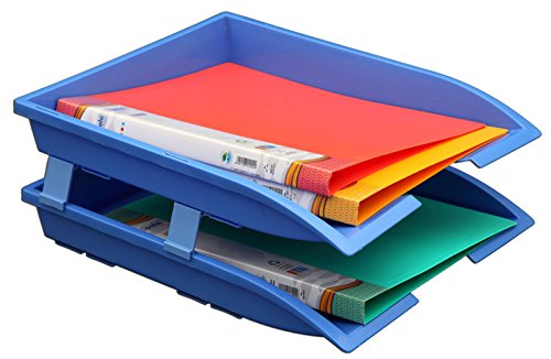 Solo Magazin Papier & File Speicher Büro Schreibtisch Organizer 2 Fächer Acryl File & Book Rack Set von 2 Stück - Farbe zur Verfügung