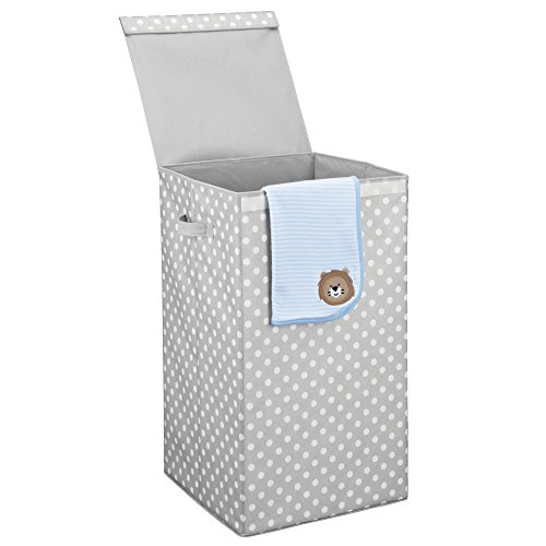 Mdesign cesto portabiancheria con coperchio – cesto panni sporchi pieghevole – porta biancheria con comodi manici realizzato in plastica – grigio chiaro/bianco