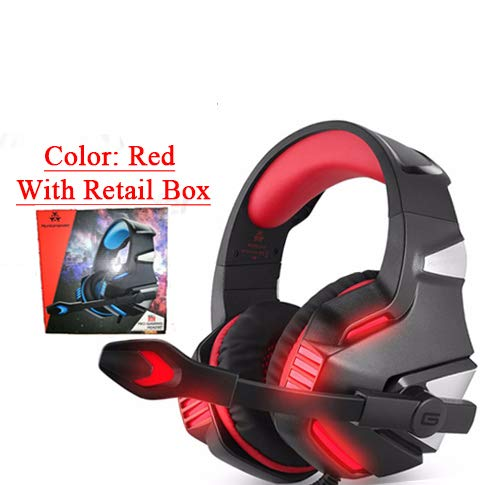 3,5 mm Gaming Headset, MIC LED Kopfhörer Stereo für PC PS4 Slim Xbox One 360 NS rot