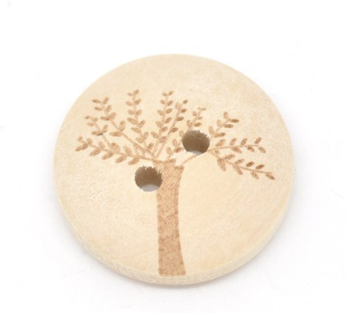 Pack of 20 Tree 2 Holes Round 20mm Wooden Buttons, for Sewing, Scrapbooking, Embelishments, Crafts, Jewellery making, shabby chic, Knitting by The Bead and Button Box -