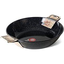 Garcima - Gerimport36-Double Poêle - Profonde avec anses - Emaillé - Noir - Taille: 64 x 50 x 14 cm