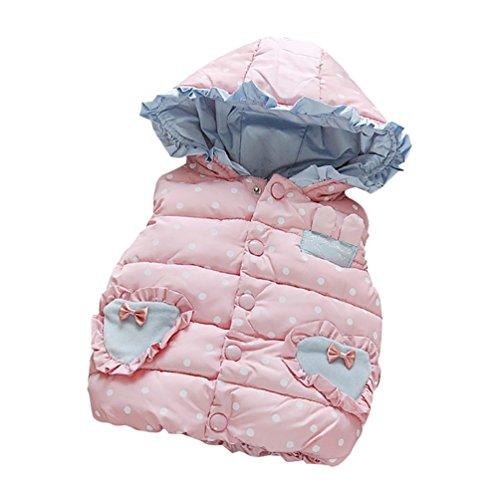 YOUJIA Kleinkind Mädchen Kapuzen Weste Baby Waistcoat Gilet Bodywarmer Wintermantel Steppjacke (Pink, 80cm)