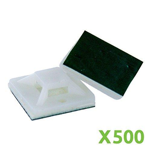 navepoint Selbstklebend 20mm x 20mm Zip Tie Mount Base Clip Halterung Montage Pad Weiß X500 -