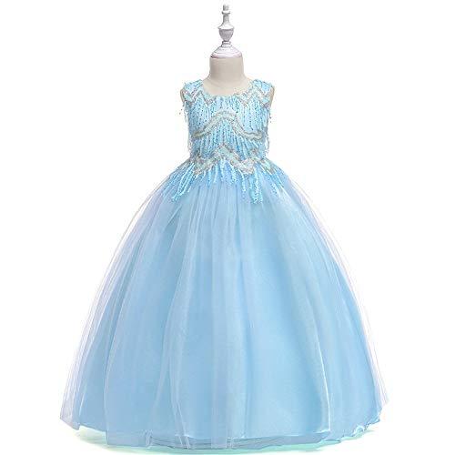 Prinzessin Kleider Mädchen Blumen Sleeveless Hochzeits-formales Kleid-Prinzessin Wedding Brautjungfern-Partei-Kleider Geburtstags-Festzug-Abend-Abschlussball-Ball-Kleid für Kinder 5-14 Jahre Kleine Mä