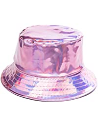 890da96c BFD One Holographic Bucket Hat Shiny Metallic PVC Bucket Hat Silver Gold  Mens Womens Sun Hat One Size Fits All…