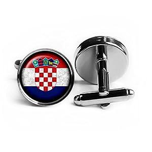 Croatia Croatian Flag Kroatien Kroatische Flagge Rhodium Silber Manschettenknöpfe