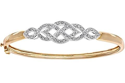 Naava Women's Diamond Bangle, 9 ct Yellow Gold, Pave Setting 0.26 ct Diamond Weight, Model PBC1086