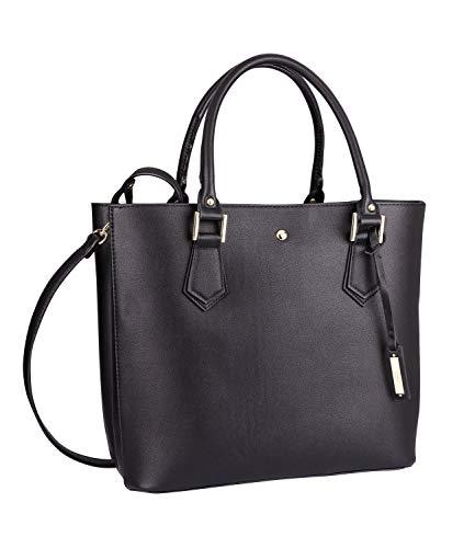 TOSH Taschen - Damen Handtasche, Shopper, Box Tasche, Anhänger, Layer Look, Reißverschluss, Abnehmbarer Schulterriemen, Gold, schwarz (734-003)