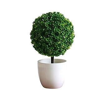 Haihuic Árboles de Bola de arbustos de Topiary Artificial de 25 cm Mini Plantas de Mesa de imitación con macetas Blancas para el hogar, baño, decoración de la casa