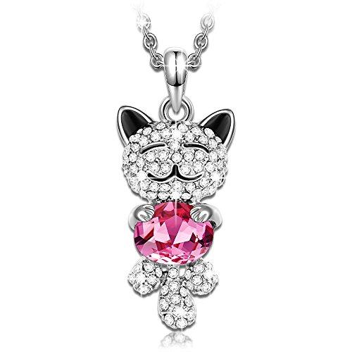 Kami Idea Rubin Katze Damen Kette Rosa Kristallen von Swarovski Schmuck Geschenke zum Geburtstag Weihnachten Jubiläum Hochzeit Mutter Frau Tochter Mädchen Freundin Frauen Ihr