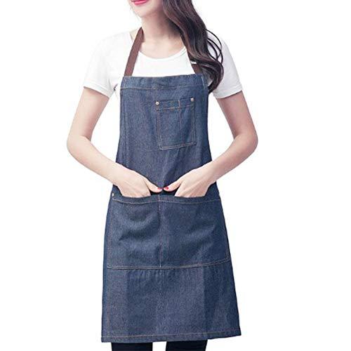 Denim Schürze mit Taschen, Schürze Männer Frauen für Küche, Koch und Grill Schürze Denim Baumwollflecköl beständig mit Tasche Easy Komfortabel