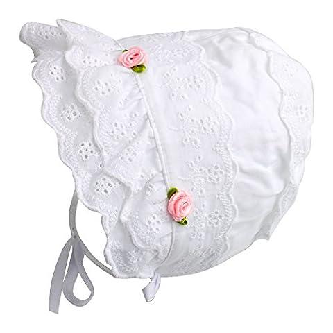 Baby Girls Cap 100% Cotton Double Brimmed Eyelet Lace Bonnet