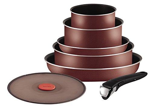 Tefal L2099402 Ingenio 5 Essential - Juego de sartenes y cacerolas, 7 piezas, aptas para inducción, color rojo terciopelo
