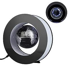 Idea Regalo - Mappamondo Magnetico Levitazione Magnetica Rotante Mappa Mondo Globe Elettronico Galleggiante con Luce LED per Geografia Educativo Dimostrazione Didattica Decorazione Regalo (Silver Black EU Plug)
