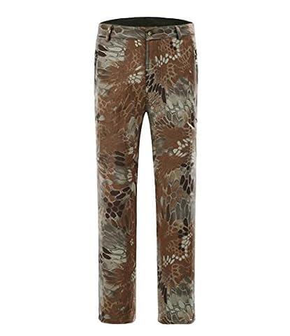 XLHGG Hommes Soft shell pantalon molleton épaissir chaud grand siz automne et hiver imperméable coupe-vent Camouflage escalade Pants , 5# , s