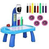 Tablero de dibujo Juego de pintura para proyector Juego de dibujo para proyector de mesa para niños con 4 discos de imágenes diferentes 8 bolígrafos de color Juguetes de educación temprana (Blue)